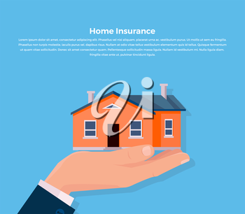 House insurance. Insurance agent keeps the house on the palm and buyer gives the money dollars. Vector illustration