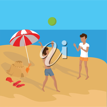 Summer vacation concept illustration. Vector flat design. Leisure on tropical sunny seaside with friends. Beach entertainments and games. Sand castle building and volleyball in a tropical country.