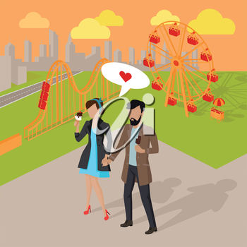 Couple in love spending time in the amusement park vector illustration. Male and female dating concept. Man and woman eating ice-cream near attractions.