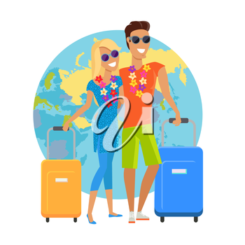 Сouple traveling summer vacation vector in flat design. Honeymoon in exotic countries concept. Young man and woman with necklace of flowers embracing and holding suitcases on world map background.
