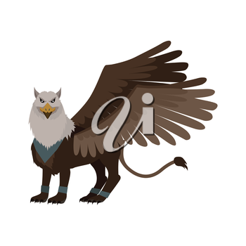 Mythical monsters griffin. Legendary creature with the body, tail, and back legs of a lion, head and wings of an eagle. Game object in flat design isolated on white background. Vector illustration.