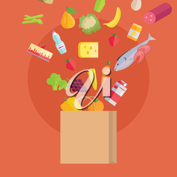 Grocery shopping vector concept. Purchases planning and buying fresh products for a week concept. Various foods falling in paper bag illustration for market, shop, food delivery ad, menu, prints.