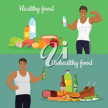 Healthy and unhealthy food. Figure of the man before and after diet. Weight loss. Sportive and fat boy isolated. Part of series of promotion healthy diet and good fit. Vector illustration