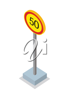Fifty kilometres per hour speed limit traffic sign. Round road sign on base. Standing is prohibited. City isometric object in flat. Drive safety. Isolated vector illustration on white background.