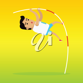Pole vault sport template. Summer games colorful banner. Active way of life concept. Competitions, achievements, best results. Person uses long, flexible pole as an aid to jump over a bar. Vector