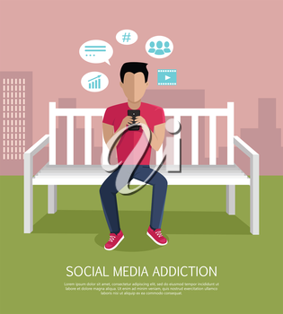 Social media addiction concept vector. Flat design. Man character seating on bench with mobile phone. Social networks icons around. People online communication picture for infographics, web design.
