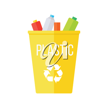 Yellow recycle garbage bin with plastic. Reuse or reduce symbol. Plastic recycle trash can. Trash can icon in flat. Waste recycling. Environmental protection. Vector illustration.