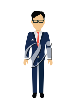 Male character without face in blue suit vector. Flat design. Man template personage illustration for concepts with humans, mobile app pictogram, logos, infographic. Isolated on white background.