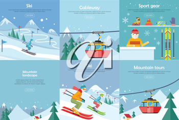 Set of winter leisure vector web banners. Flat style. Ski, cableway, sport gear, mountauin landscape, mountain tours concepts. Leisure on north nature. For mountain, ski resort landing page design