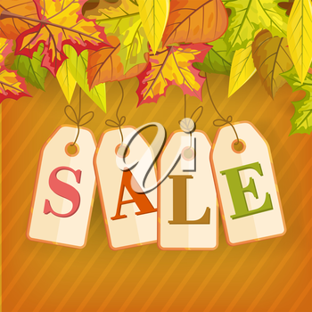 Autumn sale vector concept. Flat design. Colored leaves from different trees on top and price tags with letters hanging on ropes. For clothes stores seasonal sale and discount advertising.