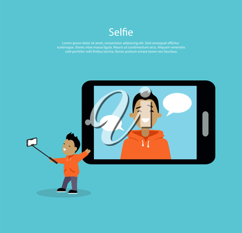 Selfie concept vector. Flat style design. Boy smiling character holding phone on selfie stick near giant mobile device with his photo. Social network communication, picture sharing illustrating.