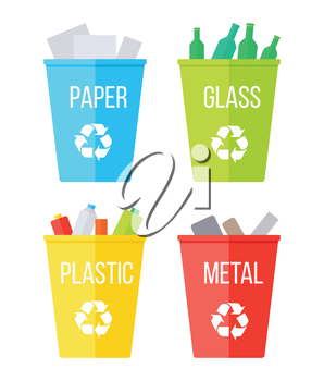 Set of recycle garbage bins. Blue with paper, yellow with plastic, red with metal, green with glass. Reuse or reduce symbol. Plastic recycle trash can. Waste recycling. Vector illustration.