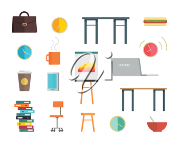 Interior office elements set in flat style. Table, chair, briefcase, laptop, round clock, folders, white board for presentations, cup, plate vector illustrations on white background. Office icon set