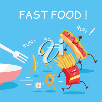 Fast food cartoon characters banner. Happy fast food cartoon characters running away from fork. French fries and hot dog cartoon characters on blue background. Animated food in flat.