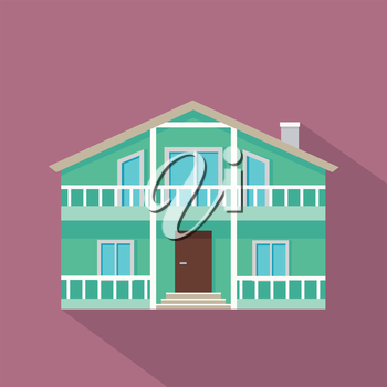 House vector icon with shadow in flat style. Classic house with porch, attic, balcony and chimney illustration.  Pictogram for real estate company services, applications icons, infographic.