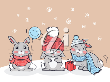 Happy winter friends. Three little rabbits in big red hat, scarf and lollipop. Funny bunny wearing warm cloth. Winter landscape with cartoon characters. Small hare in flat style design. Vector