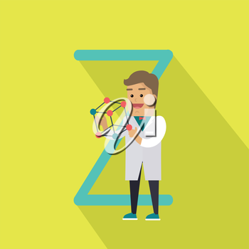 Science alphabet vector concept. Flat style. ABC element. Scientist man in white gown standing with atom structure in hand, letter Z behind. Educational glossary. On yellow background with shadow
