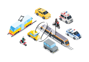 Public transportation. Traffic items collection. Car moto bus taxi ambulance safari off road moto train police car. City service transport icons. Part of series of city isometric. Vector illustration