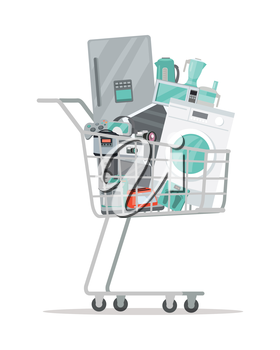 Household appliances in a trolley flat style. Illustration for electronics stores advertising. Purchase of electric equipment for every day use. Big sale concept. Set of devices in cart. Vector
