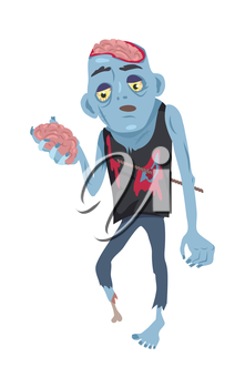 Scary zombie walking. Frightening dead man with armature in wound, blue skin, holding own brains in hand flat vector illustration isolated on white background. Horror character for Halloween concepts