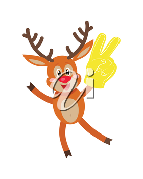 Deer in glove with victory sign isolated on white. Reindeer shows sign victory or peace and scissors by fingers. Deer with glove in form of two finger sign in flat style. Vector illustration