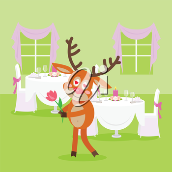 Deer lover isolated in a luxury restaurant on background. Reindeer with a flower waits his passion at restaurant. Valentines day concept. Deer fall in love in flat style design. Vector illustration