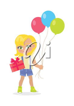 Young girl with balloons and present box isolated on white. Little lady goes to party. Blond toddler with colourful air balloon. Children every day activities. Vector illustration in flat style design