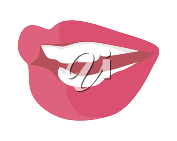 Women's smile with shining white teeth. Female lips colored with red violet lipstick flat vector illustration isolated on white background. For dental, cosmetic, beauty, fashion concepts design