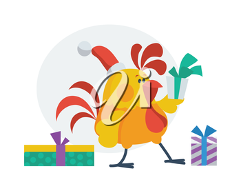 Rooster bird opens presents. Cock in Santa's hat with gift boxes. Chinese calendar zodiac cock horoscope. Earthly Branch. Chicken character collection in flat. New year and xmas greeting card. Vector