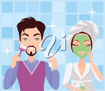 Man and woman cleaning. Making washing procedure in front of the mirror. Girl makes mask, boy shaving. People take care about their look. Part of series of ladies and gentlemen face care. Vector
