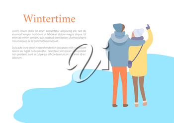 Standing in wintertime man embracing woman in hat and jacket with bag and colorful trousers. Back view of couple outdoor, papercard with text vector