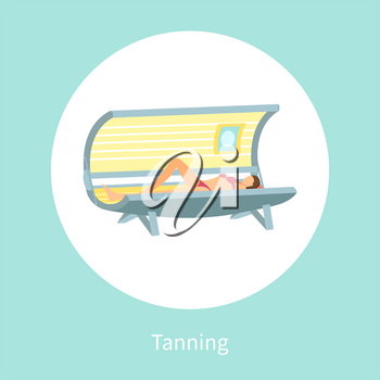 Tanning poster woman lying in indoors tan case and sunbathing under radioactive ultraviolet rays. Banner with female getting brown skin vector in circle