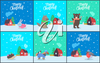 Merry Christmas poster with animals set vector. Bunny wearing knitted sweater, hedgehog with balls on needles. Wolf and bear, horse and bullfinch