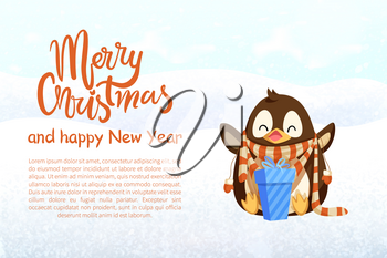 Penguin in scarf with gift and mittens, Christmas and New Year banner. Bird with present in winter clothes vector. Arctic animal, holiday greeting.