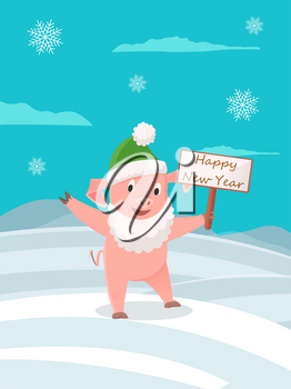 Cartoon pig in green hat and in Santa Claus beard with greeting card wishes Happy New Year. Piglet on winter landscape, snowflakes and hills of snow, vector