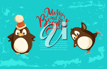 Merry and bright Christmas holiday penguins and winter holiday celebration vector. Animal wearing warm hat, bird with wings smooth feathers snowing