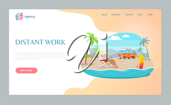 Woman sitting on chair using laptop, girl on beach with wireless device, distant work webpage decorated by mountain landscape, palm trees, bus vector. Website template, landing page flat style