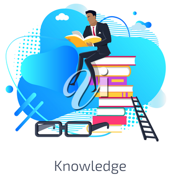 Knowledge vector, male reading book and sitting on pile of published information, educational resources and material. Business education. Glasses and spectacles business