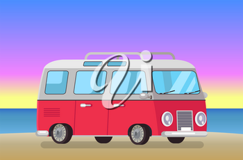 Cute bus on evening beach, vector illustration summer time, beautiful sunset red vehicle with reflections in glass, pleasant night at sandy shore.