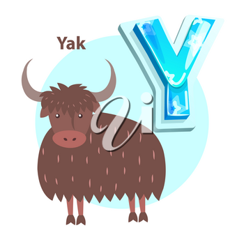 Letter Y is for yak cartoon alphabet for children. Volume symbol with star pattern and bull with long shaggy wool, vector icon, badge for kid book