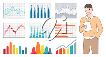 Worker character holding paper, closeup view of man with graph report, charts icons, colorful rising arrows and schematic on cells, statistic data vector