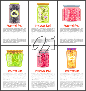 Preserved food vector glass labeled and unlabeled jars. Homemade canned vegetables, fruit and berries conservation poster with space for recipes.