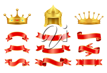 Gold crown with jewel, helmet and red ribbons vector set. Vintage icons of corona, strips of different shape and style, horizontal string decoration