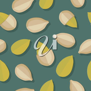 Pumkin seeds seamless pattern. Ripe pumkin seeds in flat. Pumkin seeds on a dark green background. Several pumkin seeds. Healthy vegetarian food. Vector illustration