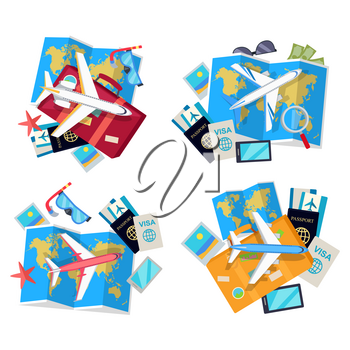 Informative vector poster for journey and traveling. Set of tourist things. Plane, visa, passport, map, photo gives a trip atmosphere. Trip concept collection illustration. Objects isolated on white