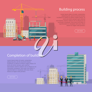 Building process. Completion of building. Construction of residential houses banners set. Big building area. Vector. Skyscrapers real estate in flat style design. City infrastructure development.