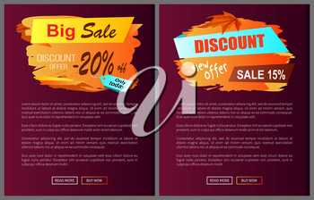 Big sale discount offer only today -20 off autumn best choice labels on vector posters, advertisement set promo banners with text, landing page design
