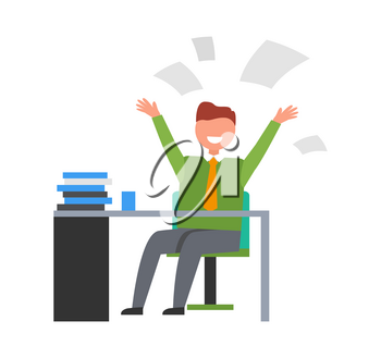 Businessman at work. Isolated vector illustration of happy man sitting and desk with pile of books and throwing up his papers on white background