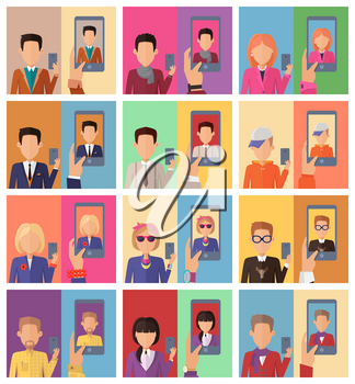 Selfie concept vectors. Flat design. Set of characters with mobile phone in hand making photo and mobile device with portrait on screen. Illustration for mobile photo and haring services ad, icons.
