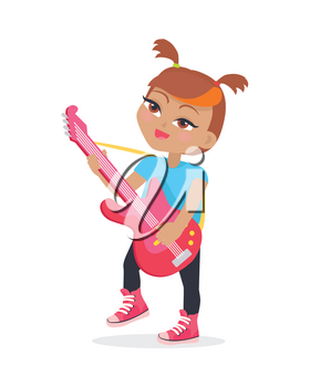 Girl playing on guitar isolated on white. Adorable little girl has leisure time. Young singer at music lesson. Toddler at playground play on musical instrument in flat style. Daily activity. Vector